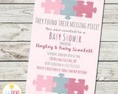 Missing Piece Invitation - Baby Shower - Girl - Adoption - Polka Dots - Puzzle Piece - Digital Printable