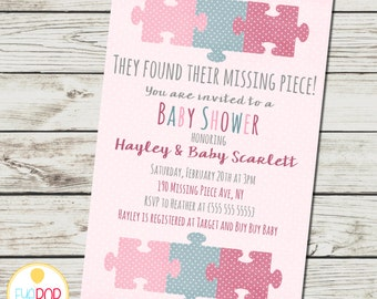 Missing Piece Invitation - Baby Shower - Girl - Adoption - Polka Dots - Puzzle Piece - Digital Printable