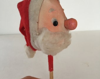 Vintage Santa Doll Head on a Stick - Old - Shabby Chic