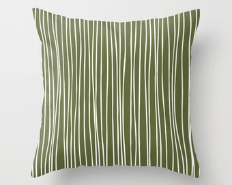 Vertical Lines Pillow Cover, Green Pillow Cover, Minimalist Pillow cover, Graphic Pillow cover, Grass Pillow cover, Green Throw Pillow cover