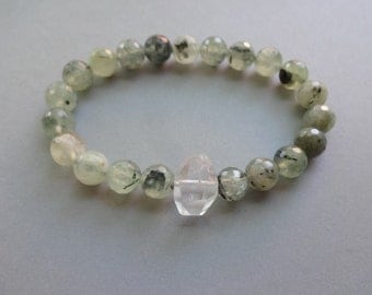 Translucent green Prehnite crystal quartz powerful stretch Bracelet - green gemstone bead jewelry