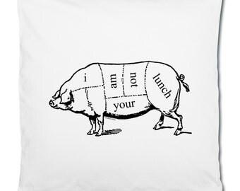 Vegan Vegetarian Pig Butcher Diagram 'I Am Not Your Lunch' Illustration Line Art Graphic White Cotton Cushion Cover Pillowcase. 40 x 40 cm.