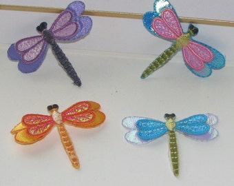 Wholesale bulk 12pcs/LOT  cartoon  dragonfly  embroidered iron on sewing patch  5cm