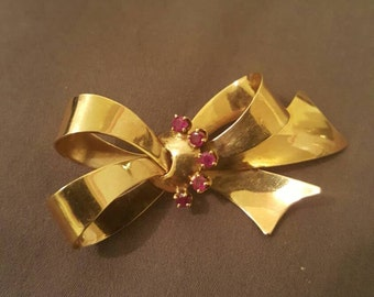 Antique 14k gold and ruby bow pin, brooch, scarf pin women's jewelry