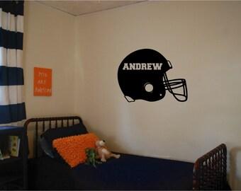 Football Helmet Wall Decal with Custom Name