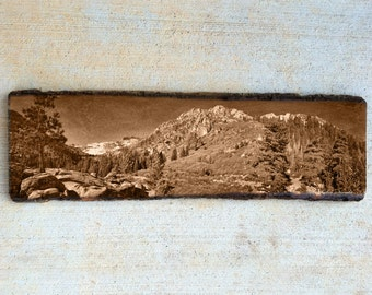 Vintage Lake Tahoe Panoramic 23x7 inches Nature Mountain on Natural Wood Slice with bark edges - Made in USA