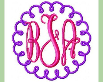 Machine Embroidery Design - Squigqle Circle Border - Comes in 4 sizes 8x8,6x6,4x4 and 3x3