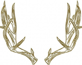 Machine Embroidery Design - Masculine Stitch Antlers