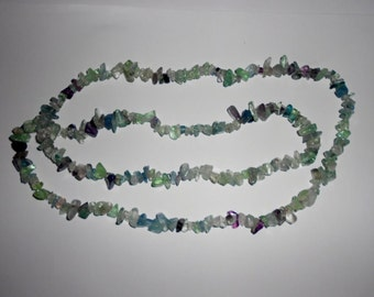 """1pc Fluorite Crystal Healing Chip Gemstone 36"""" Long Necklace -  All Gems Are Natural AA Quality"""