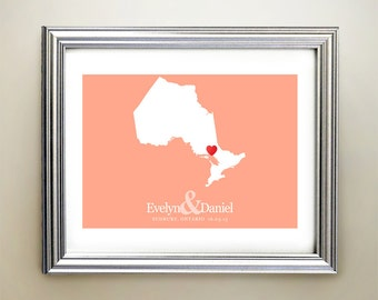 Ontario Custom Horizontal Heart Map Art - Personalized names, wedding gift, engagement, anniversary date