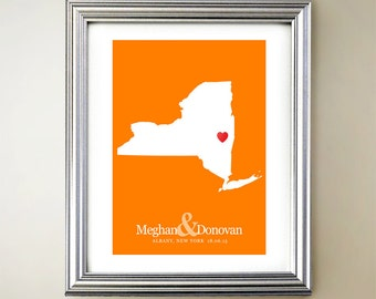 New York Custom Vertical Heart Map Art - Personalized names, wedding gift, engagement, anniversary date
