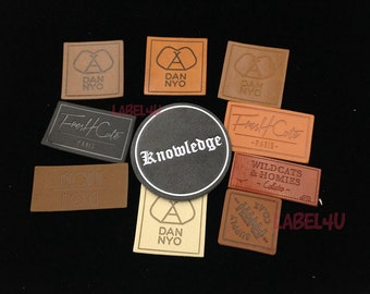 50pcs Faux Leather Labels, Jeans Patches, Custom Leather Tags For Hat, PU Leather Patch, Custom Leather Emboss