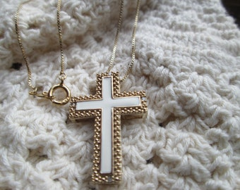 14KT  Gold Overlay/925 Sterling Silver Genuine Diamond Cross w/18 Inch Gold Overlay/925 Chain