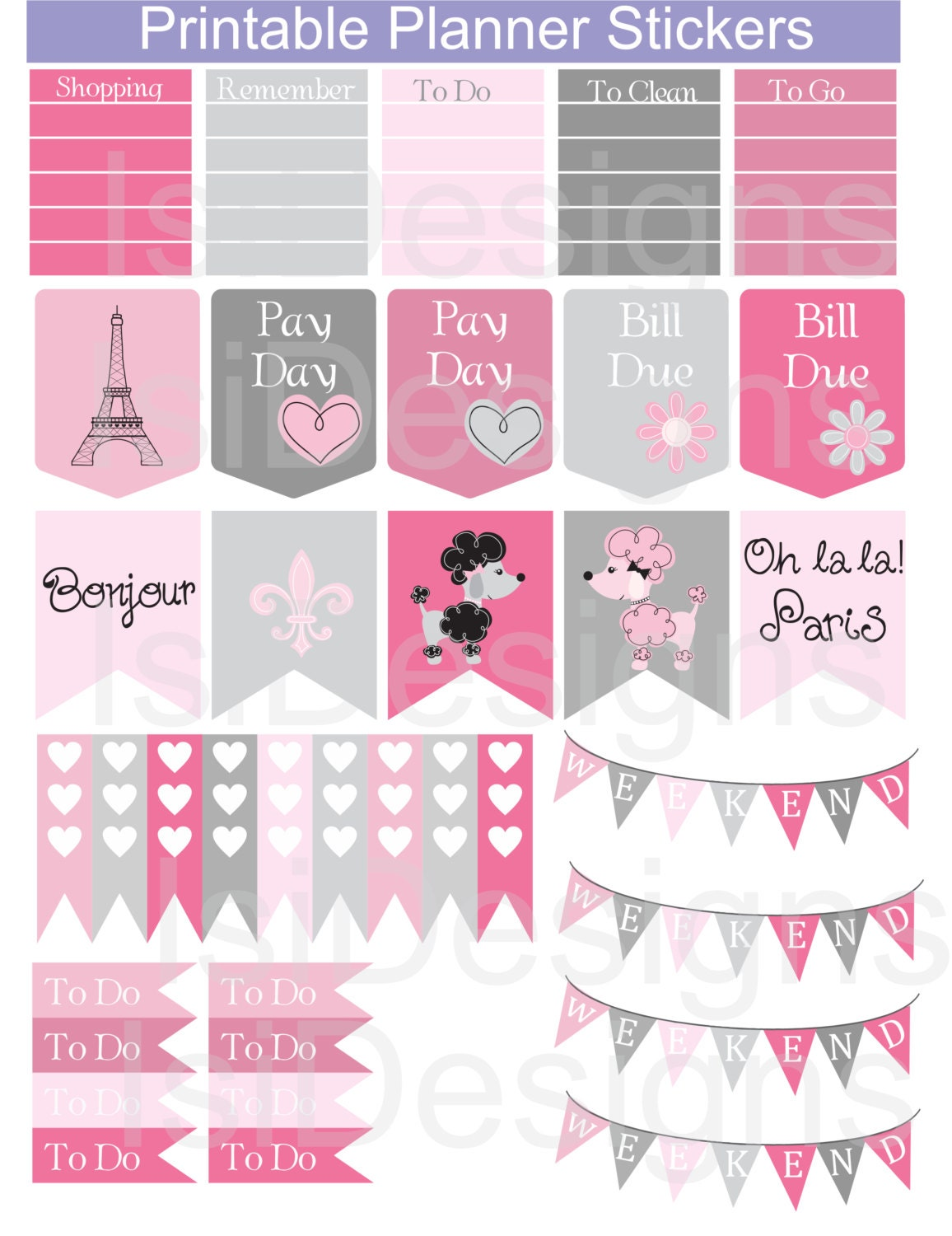 Pink and Grey Printable Planner Stickers / Paris Theme