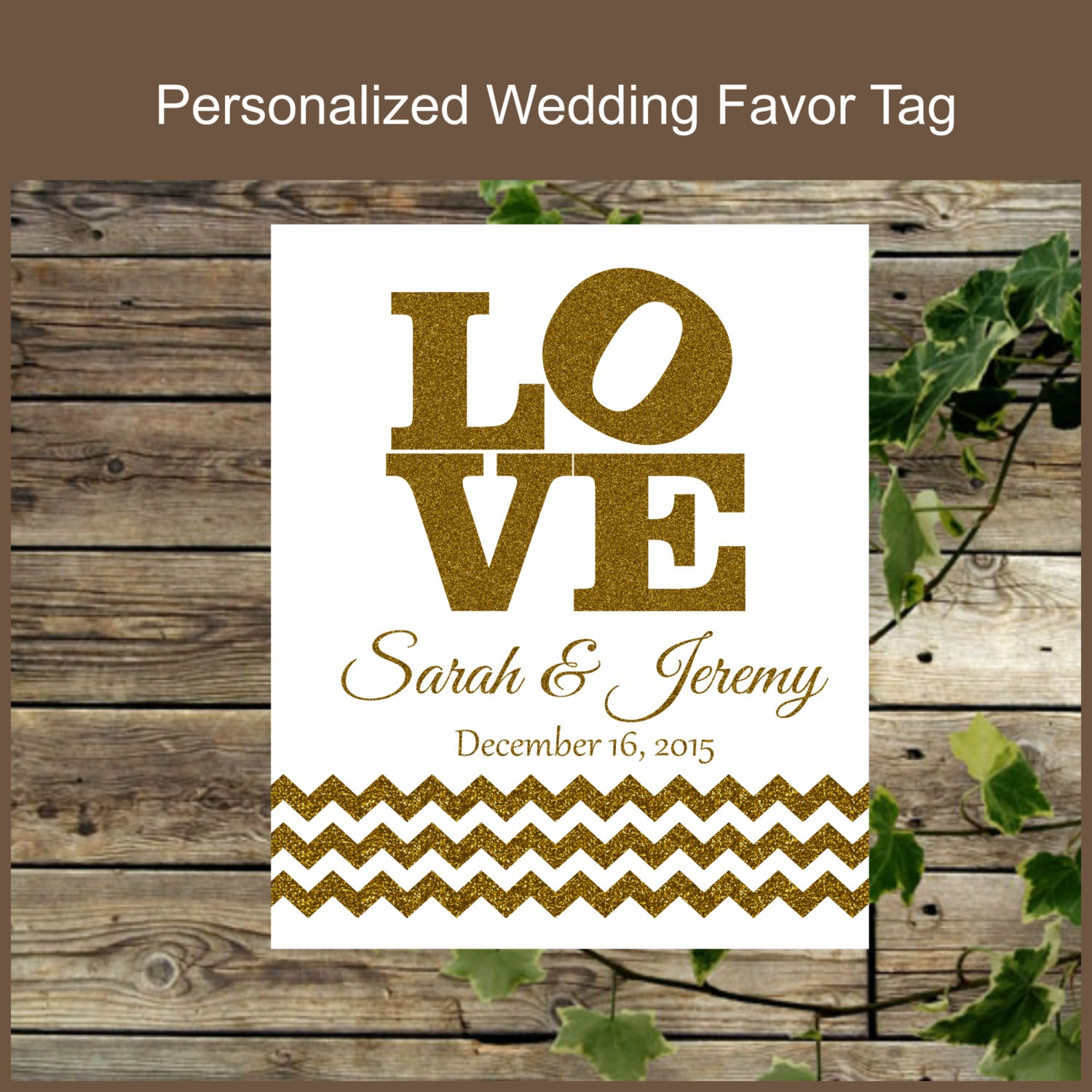 Wedding Favor Tags Custom : Printable Wedding Favor Tags Personalized Love White and Gold