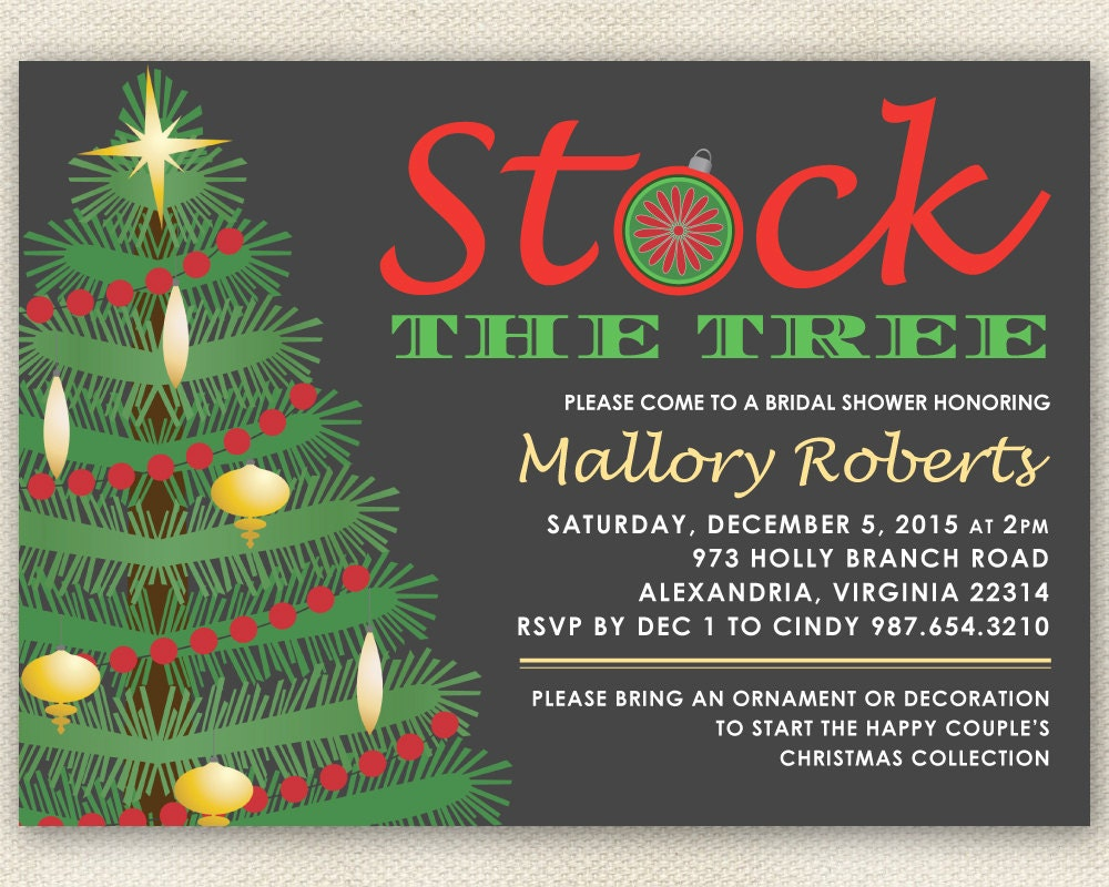 Wedding Gift Record Book: Christmas Bridal Shower Invitation Stock The Tree With Xmas