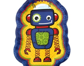 8 Count - Robots Dinner Plates - Baby Shower or Birthday Party Supplies