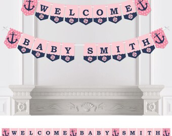 Ahoy - Nautical Girl - Bunting Banner - Personalized Baby Shower or Birthday Party Decorations