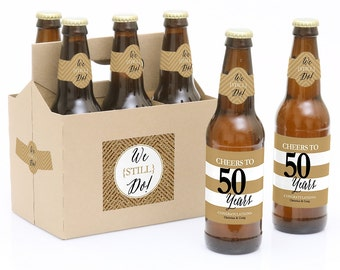50th wedding anniversary 6 beer bottle labels u0026 1 carrier we still do 50th