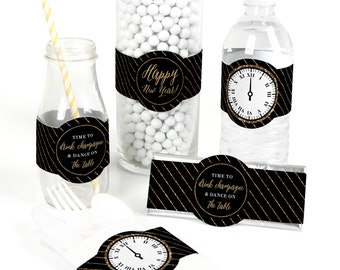 15 New Year's Eve - Gold Party Favor Wrappers - New Year's Eve Party Supplies