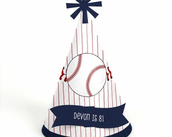 8 Batter Up - Baseball Birthday Party Hats - Personalized Baseball Birthday Party Supplies - Set of 8