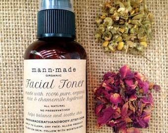 Facial Toner-Organic, Pure, Rose & Chamomile Hydrosol - 2oz Spray Bottle