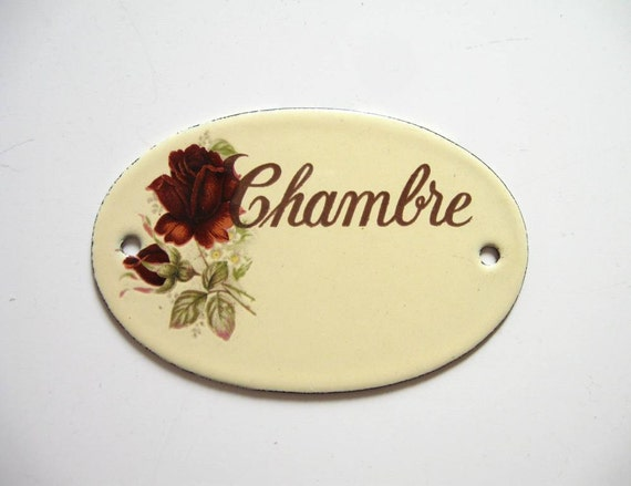 French door sign enamel french chambre room by for What does chambre mean in french
