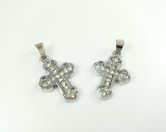 10  pcs  Rhodium plated Rhinestone Cross Charms  Cross Pendant Cross Jewelry