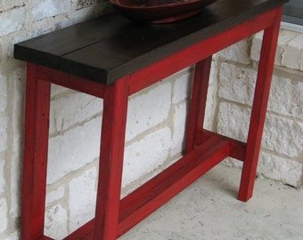 ON SALE Rustic Sofa Table, Console Table, Entry Way Table with RED/Brown color scheme
