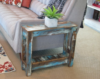 Heavily Distressed Side Table; End Table, Entry Way Table
