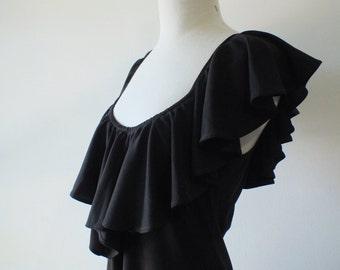 1970s black ruffle maxi dress + vintage full length dress