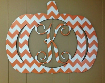 Chevron Halloween Monogram Pumpkin