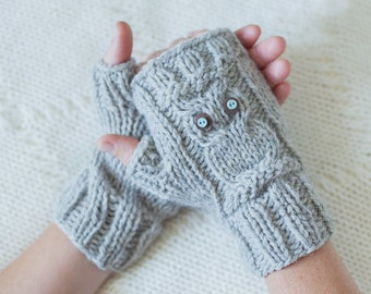 Owl Knit Fingerless Mittens - PDF Pattern - Owl Cable Knit Fingerless Gloves ...