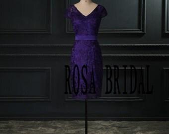 Short bridesmaid dress , Cap sleeve Lace bridesmaid dress regency Custom Size color