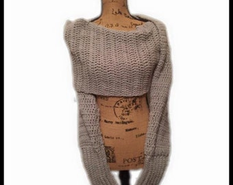 Scarf with Sleeve PATTERN Crochet Scarf Wrap with Wearable 2 in 1 Sweater Scarf Sleeve PDF Guide Instant Download DIY Shawl Wrap Cardigan