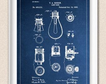 Lightbulb Blueprint Art - Personalise Background - Chalkboard, Blueprint, Aged Paper A177