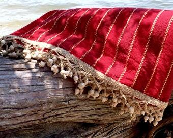 Beach Blanket, Fiesta Blanket, Tassel Blanket, Large Blanket, Beach Throw, Bohemian Festival Blanket, Picnic Blanket, Outdoor Blanket, Red