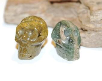 Ocean Jasper Focal Bead, Skull Beads, Halloween Beads, Halloween Skulls, Natural Stone Skull, Carved Gemstone Skull, Side Drilled Skull