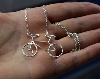 Silver Bike-Silver Bicycle Necklace-Sterling Bicycle Necklace-Bike Rider Jewelry-Bicycle Pendant-Valentines Day Gift