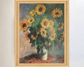 Sunflowers by Claude Monet - Framed Art