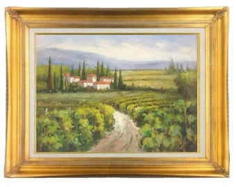 Italian Oil Painting of Tuscan Vineyard with Villa, Cypress Trees,  24 X 36 stretched only or in modern Floater Frame or Gold Traditional