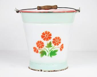 enamel bucket with floral pattern 1930