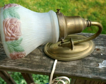 Beautiful Vintage Wall Light with Glass Shade, Cottage Chic