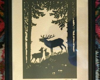 Vintage Silhouette Paper Cut Outs Wildlife Pictures, Framed