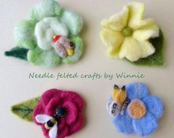 Needle felted flower brooch- handmade OOAK wool brooch each sold individually