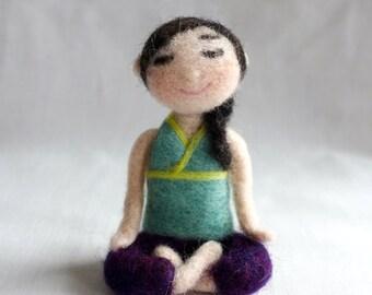 Yoga meditation girl handmade OOAK needle felted wool doll
