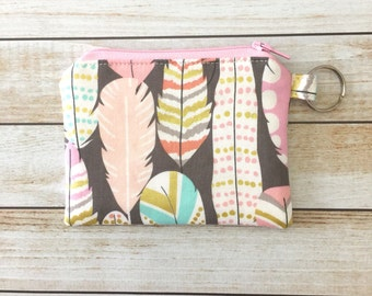 Pastel Feathers Keychain Zipper Coin Purse Gifts For Her Holiday Gift Card Pouch Zipper Coin Pouch