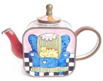 Cat on sofa teapot - miniature enamel teapot - Charlotte di Vita teapot - Trade + Aid