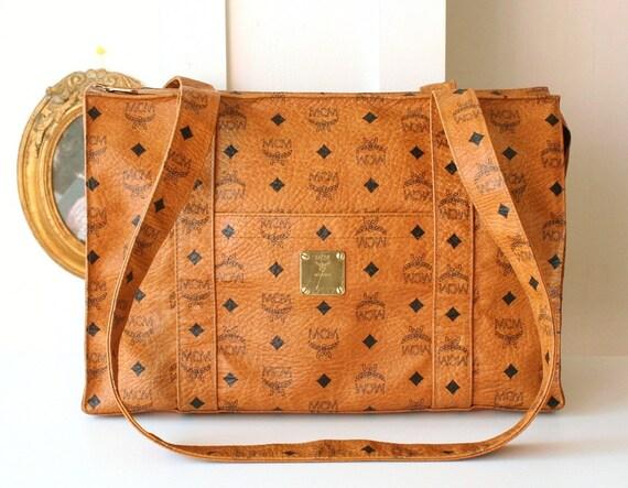 authentic mcm visetos cognac shoulder large vintage handbag