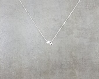 Grizzly Bear [SILVER] Plated Necklace in Gift Box CA California North America Kodiak Bear Flag